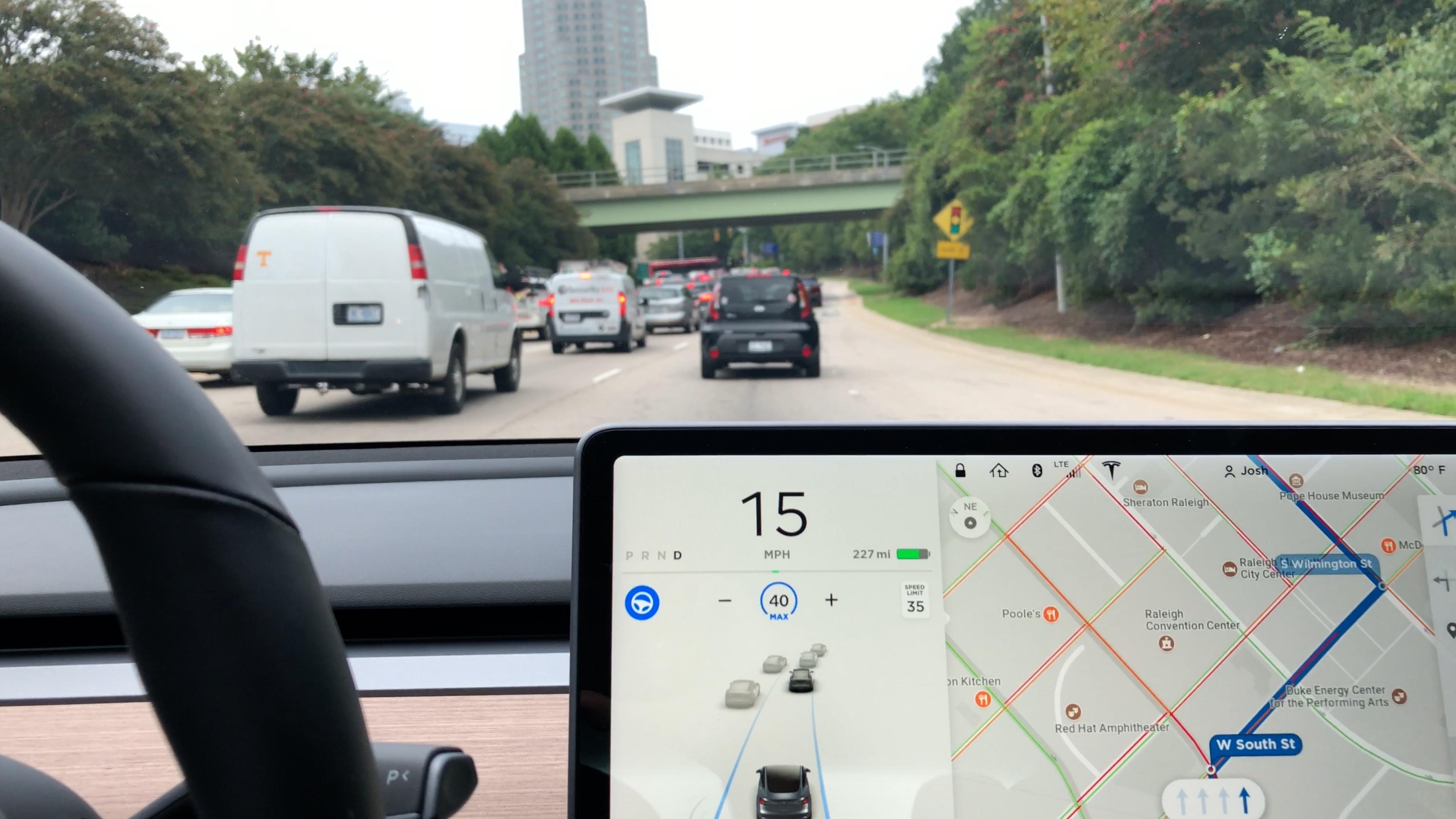 Autopilot in bumper-to-bumper traffic.