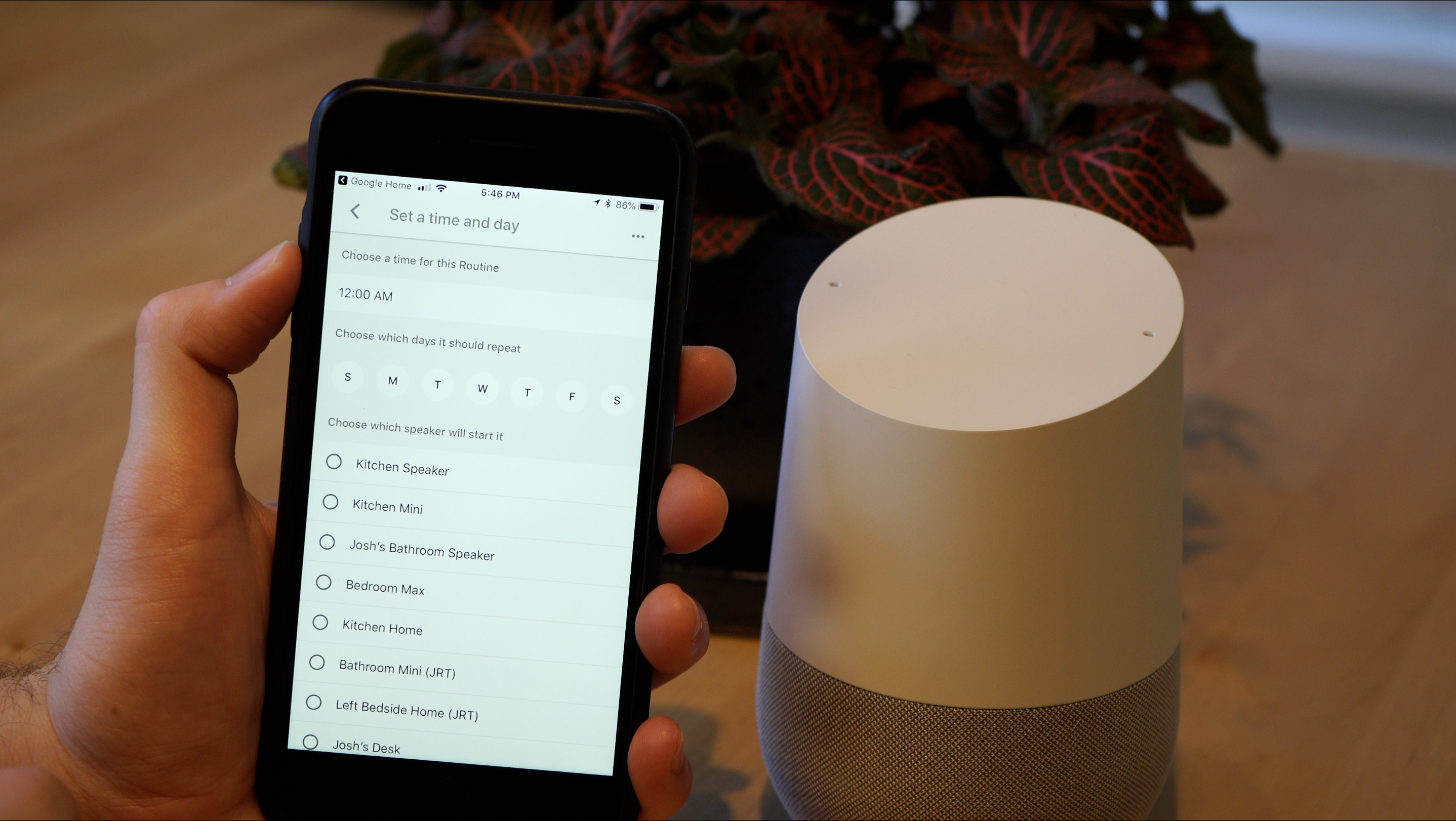 Creating a Google Assistant scheduled routine on the iPhone.