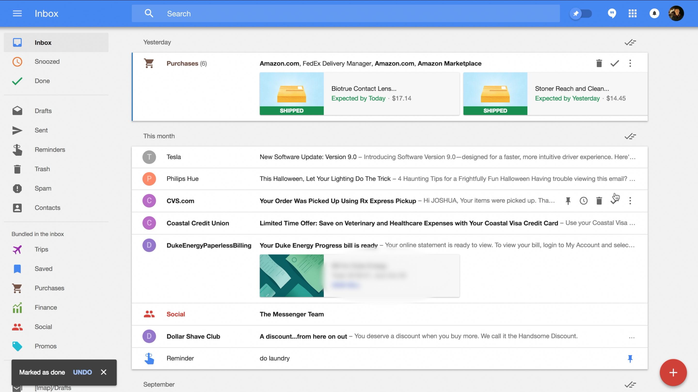 Google Inbox design screenshot