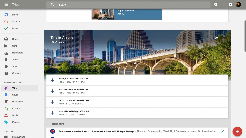 trip bundles screenshot in Inbox.